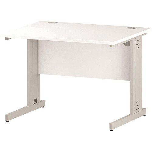 Rectangular Cable Managed Cantilever White Leg Office Desk White W1000xD800mm