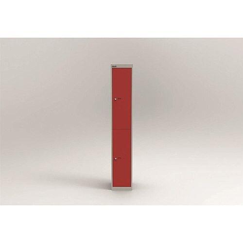Bisley Steel Locker 305mm Deep 2 Door Grey &Red