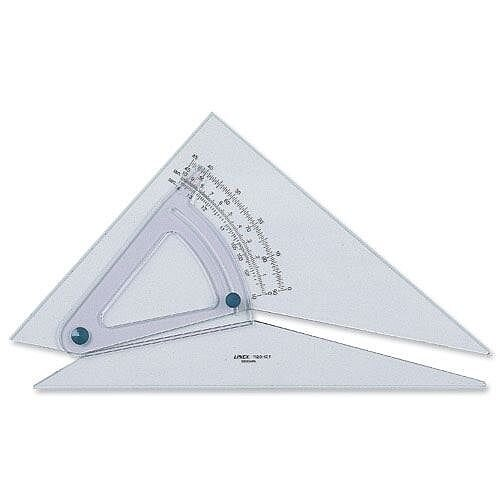 Linex Set Square Adjustable 0.5 Degree Scale 25cm Clear
