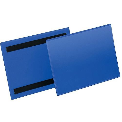 Durable A5 Landscape Magnetic Document Sleeve Dark Blue Pack of 50