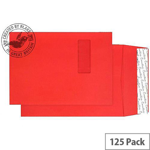 Purely Packaging Envelope Gusset P& 140gsm C4 Window Red Ref 9061W [Pack 125]