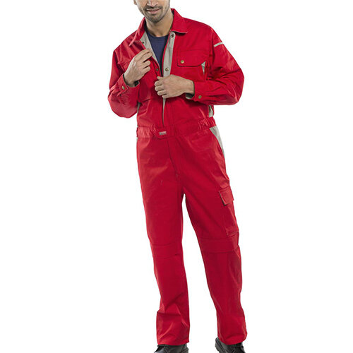 Click Premium 250gsm Polycotton Boilersuit Work Overall Size 46 Red Ref CPCRE46
