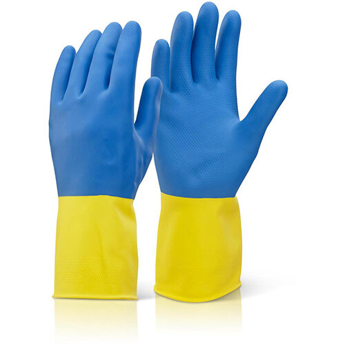 Click 2000 Two Colour Heavyweight Rubber Gloves Size L Yellow &Blue Pack of 10 Pairs Ref BCYBL