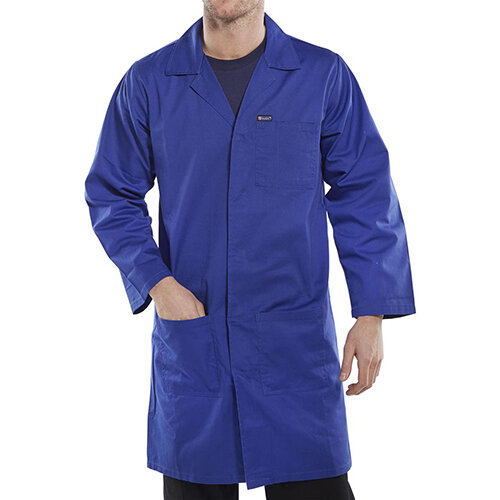 Click Workwear Poly Cotton Warehouse Coat 52in Chest Royal Blue Ref PCWCR52