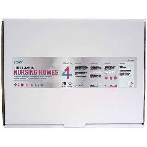 PVA Hygiene 4-in-1 C2 Nursing Homes Dissolving Cleaner 26 Sachets Mixed Pack Cleaning Kit