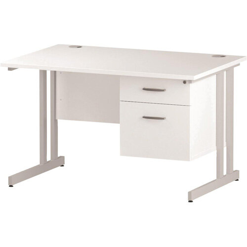 Rectangular Double Cantilever White Leg Office Desk With Fixed 2 Drawer Pedestal White W1200xD800mm