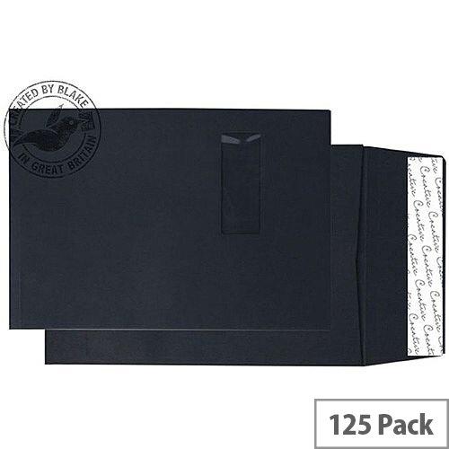 Purely Packaging Envelope Gusset P& 140gsm C4 Window Black Ref 9141W [Pack 125]