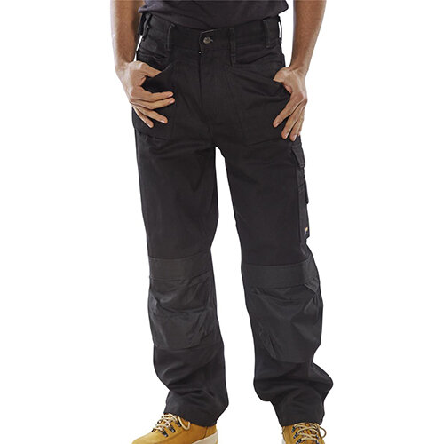 Click Premium Work Trousers With Multipurpose Holster Pockets 46 inch Waist with Tall Leg Black Ref CPMPTBL46T