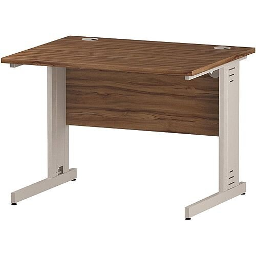 Rectangular Cable Managed Cantilever White Leg Office Desk Walnut W1000xD800mm