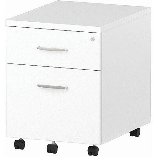 2 Drawer Mobile Desk Pedestal White