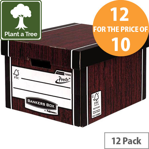 Bankers Box by Fellowes Premium 725 A4/Foolscap Classic Storage Box Woodgrain Pack of 12 for the Price of 10