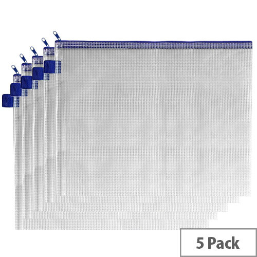 A5 Zip Pouch Yellow Reinforced Mesh Weave PVC Clear INDX Pack 5