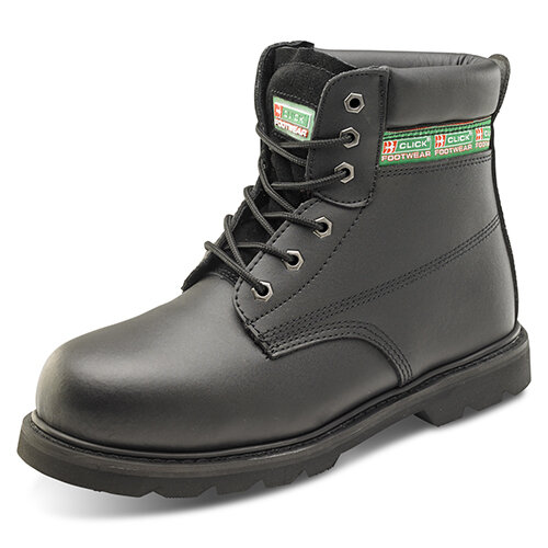 Click Footwear Goodyear Welted 6in Leather Safety Boots Size 8 Black - Steel Toe Cap &Midsole Protection, Oil Resistant &Heat Resistant Sole, Slip Resistant Ref GWBMSBL08