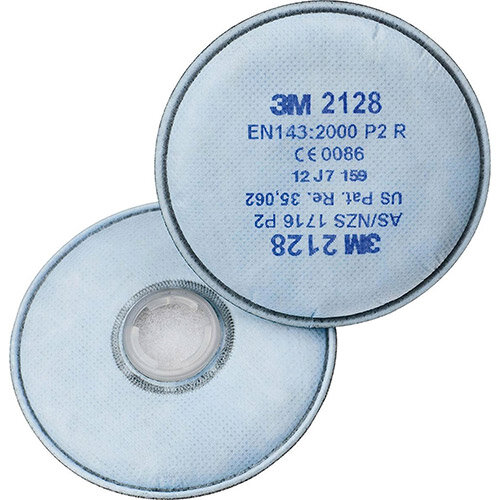 3M 2128 P2 R Particulate Filter + Nuisance Level Organic Vapour and Acid Gas White 10 Pairs