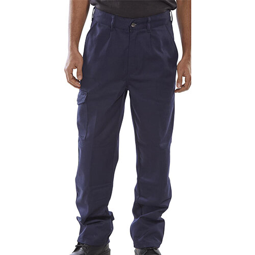 Click Heavyweight Drivers Trousers With Flap Pockets 26 inch Waist with Regular Leg Navy Blue Ref PCT9N26