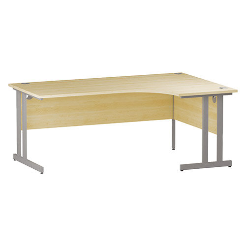L-Shaped Corner Right Hand Double Cantilever Silver Leg Office Desk Maple W1800mm