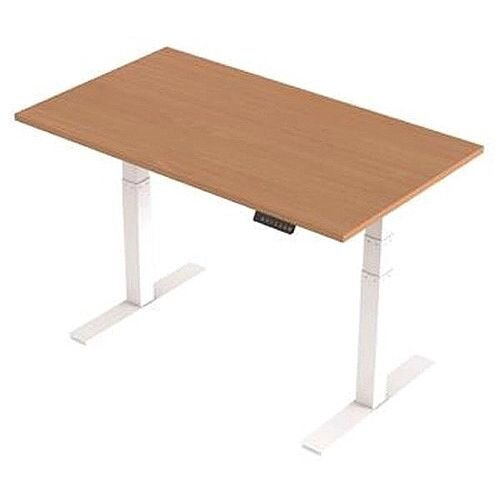 1400x800mm Height Adjustable Rectangular Sit-Stand Desk Beech with White Frame