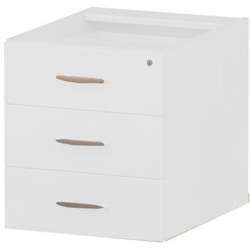 3 Drawer Fixed Desk Pedestal White