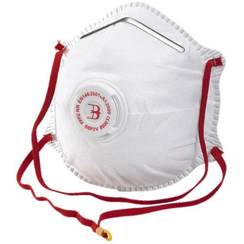 B-Brand P2 Valve Mask Polypropylene Latex-free White Pack of 10 Ref BBP2V