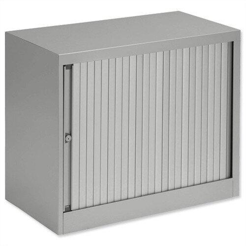 Bisley Desk High Tambour Door Cupboard W800mm Grey Frame &Grey Shutters