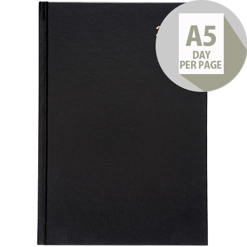 5 Star Office 2020 Diary Day to Page Casebound and Sewn Vinyl Coated Board A5 210x148mm Black