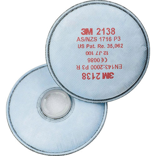 3M 2138 P3 R Particulate Filter White + Nuisance Level Organic Vapour and Acid Gas White 10 Pairs