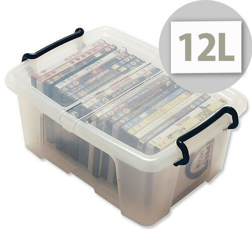 Strata Smart Storage Box Clip on Lid 12 Litres Clear