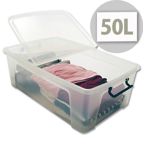 Strata Smart Storage Box Clip on Lid 50 Litres Clear  sc 1 st  Hunt Office UK & Strata Smart Storage Box Clear Clip On Folding Lid Carry Handles 50 ...