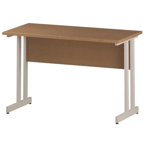 Rectangular Double Cantilever White Leg Slimline Office Desk Oak W1200xD600mm