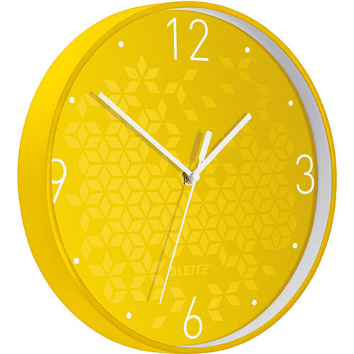 Leitz WOW Wall Clock 291x291x43mm Yellow Ref 90150016