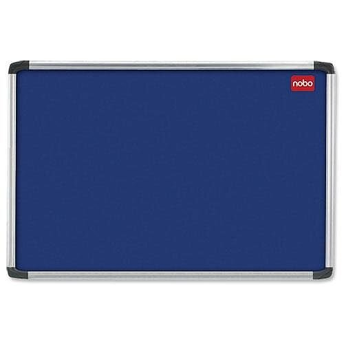 Nobo Blue Felt Notice Board 900 x 600mm with Fixings and Aluminium Frame