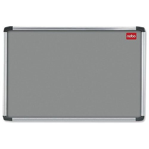 Nobo Felt Notice Board Grey with Fixings and Aluminium Frame 1200 x 900mm
