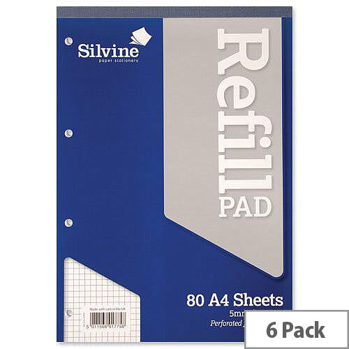 Silvine A4 Refill Pad Quadrille Squared Headbound Perforated Punched Pack 6