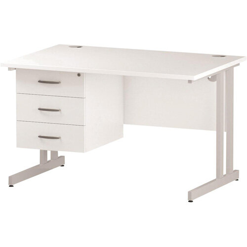Rectangular Double Cantilever White Leg Office Desk With Fixed 3 Drawer Pedestal White W1200xD800mm