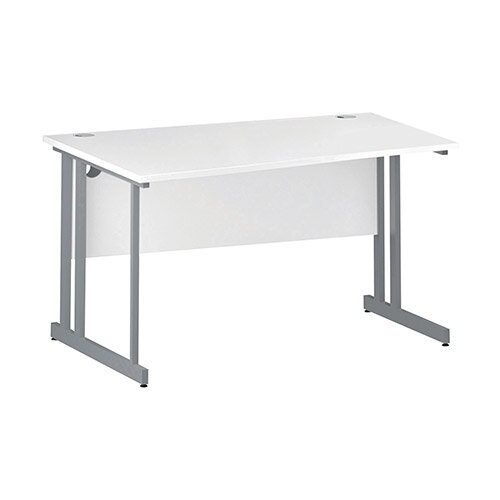 Wave Double Cantilever Silver Leg Left Hand Office Desk White W1400mm