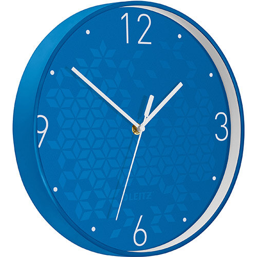 Leitz WOW Wall Clock 291x291x43mm Blue Ref 90150036