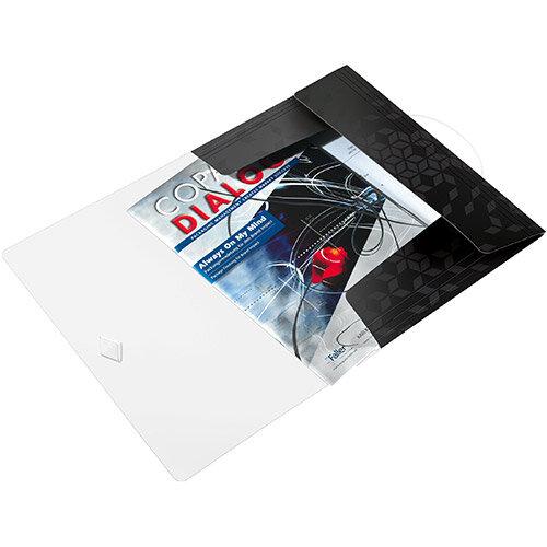 Leitz WOW 3 Flap Folder PP Elastic Straps A4 Black Ref 45990095 Pack of 10