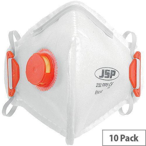 JSP FFP3V 232 Disposable Fold Flat Mask Pack of 10