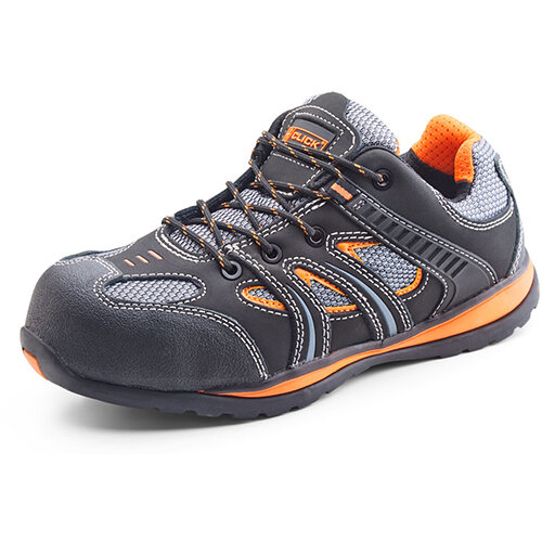 Click Footwear Action Trainer Non-metallic Size 10.5 (45) Black &Orange Ref CF1910.5
