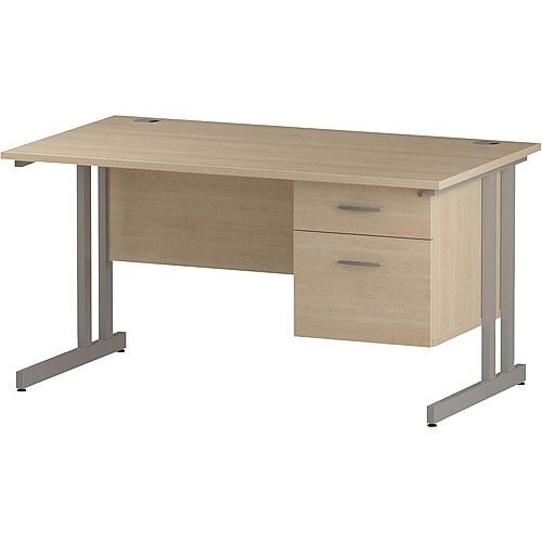 Rectangular Double Cantilever Silver Leg Office Desk With Fixed 2 Drawer Pedestal Maple W1400xD800mm