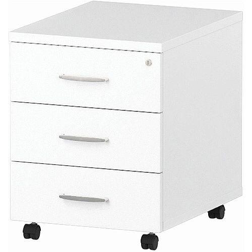 3 Drawer Mobile Desk Pedestal White