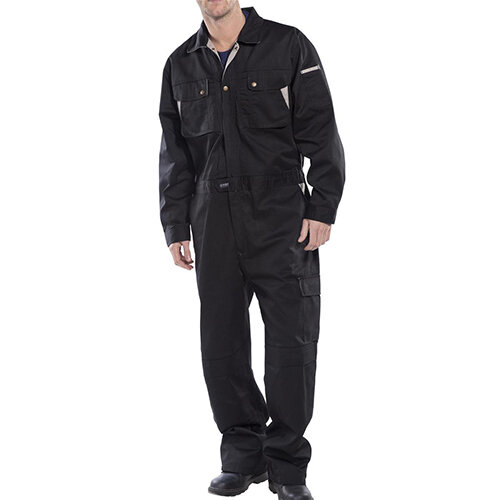 Click Premium 250gsm Polycotton Boilersuit Work Overall Size 46 Black Ref CPCBL46