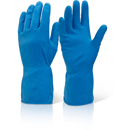 Click2000 Household Medium Weight Rubber Gloves Blue Size M Pack of 10 Pairs Ref HHMWBS