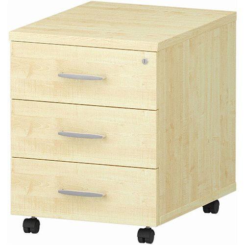 3 Drawer Mobile Desk Pedestal Maple