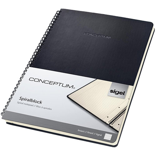 Sigel Conceptum Notebook Hard Cover Lined 4-hole Micro Perforated 160 Pages Black Ref CO821