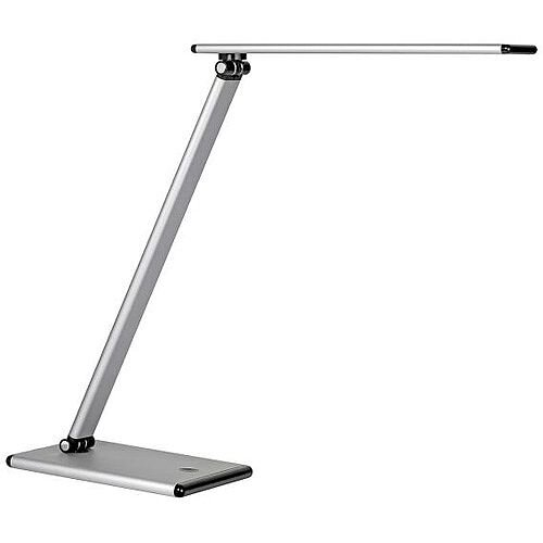 Unilux Terra LED Desk Lamp Dimmable 4 Levels Brightness Rotating Arm 20000 Hours Silver