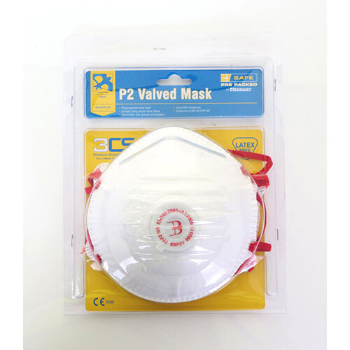 B-Safe Pre Packed P2 Valve Mask Polypropylene Latex-free White Pack of 3 Ref BS032