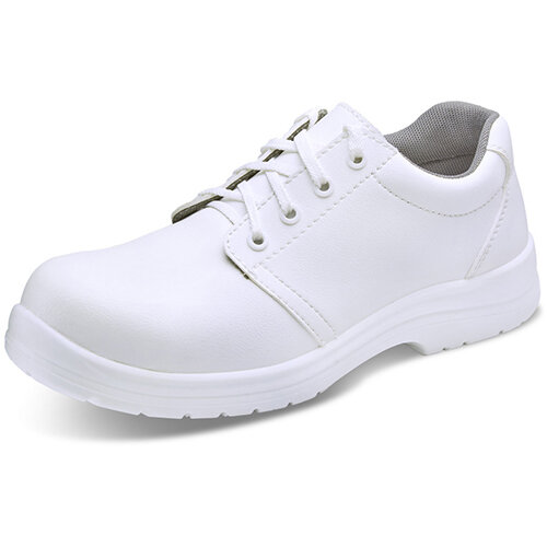 Click Footwear Micro Fibre Washable Tie Work Shoes S2 Steel Toe Cap Size 7 White - Slip Resistant &Shock Absorber Heel, Anti-static &Oil Resistant Sole, Water Resistant Upper Ref CF82207
