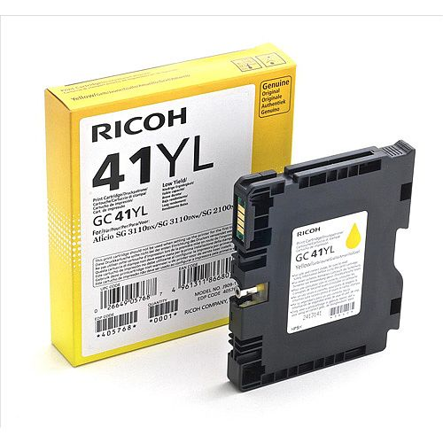 Ricoh GC41YL Yield: 600 Pages Light User Yellow Gel Ink Cartridge