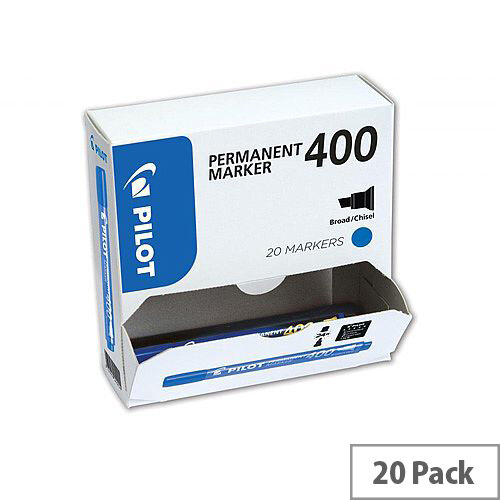 Pilot SCA-400 Chisel Tip 4.5mm Tip Width 4.0mm Line Width Permanent Marker Blue Pack of 20
